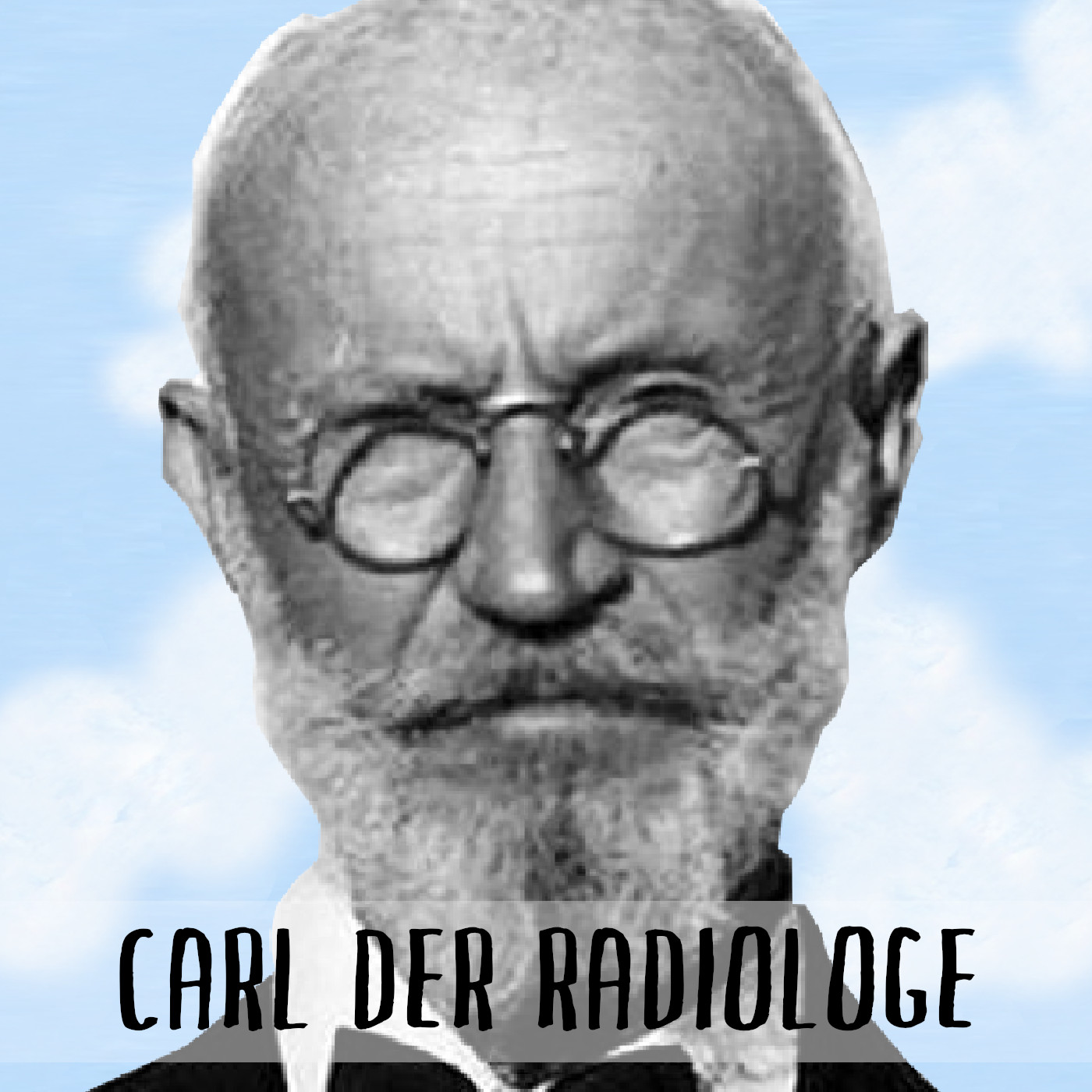 Podcast Cover: Carl von Cosel Looks at the camera. Podcast Logo: Karl Tanzler guckt in die Kamera.