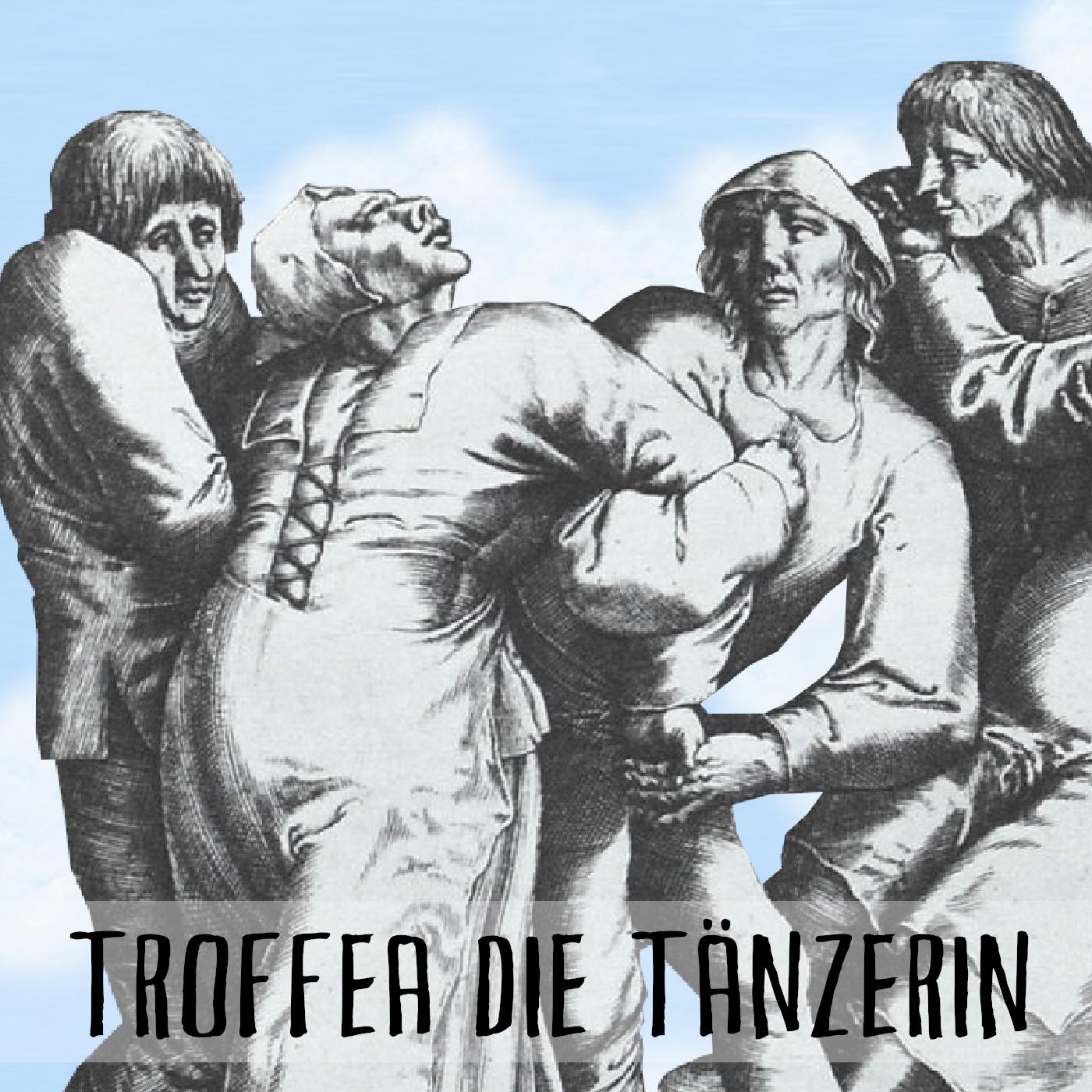 Podcast Cover: Old painting of a dancing crowd in Alsace during the dancing plague. Podcast Logo: Altes Gemälde einer tanzenden Menschengruppe im Elsass während der Tanzwut.