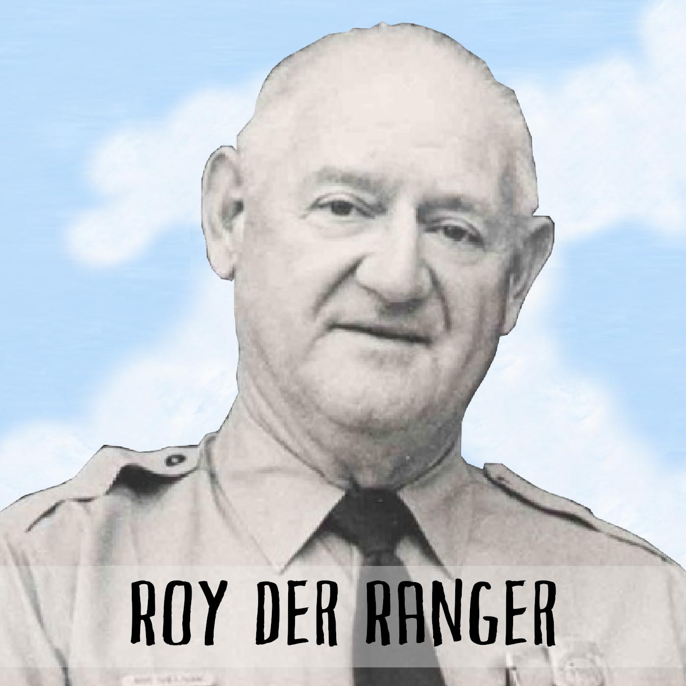 Podcast Cover: Roy Sullivan looking at the camera after being struck lightning several times. Podcast Logo: Roy Sullivan guckt in die Kamera nachdem er mehrere Male vom Blitz getroffen wurde.