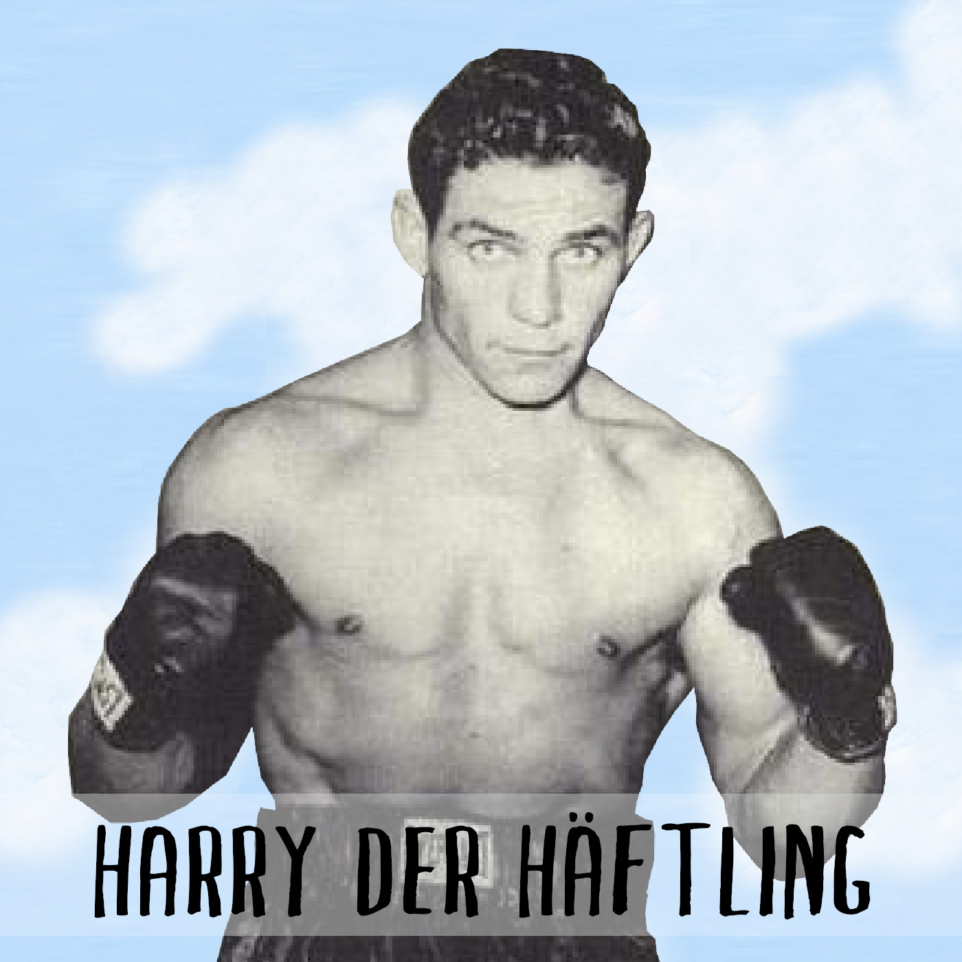 Podcast Cover: Harry Haft as a Boxer after escaping a Nazi concentration camp. Podcast Logo: Herzka Haft als Boxer nachdem er einem Konzentrationslager der Nazis entkommen ist.