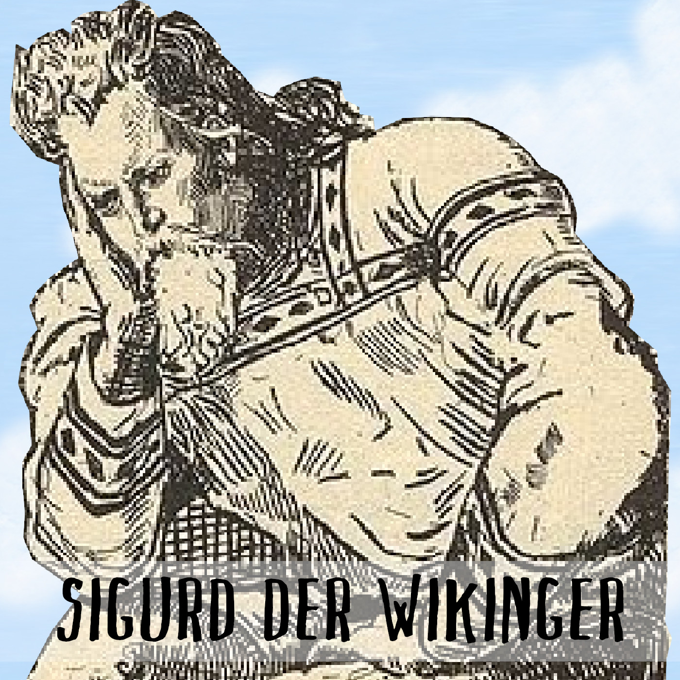 Podcast Cover: The viking Sigurd Eysteinsson in pain because of his infected leg. Podcast Logo: Der Wikinger Sigurd Eysteinsson hat Schmerzen, weil sein Bein eine infizierte Wunde hat.