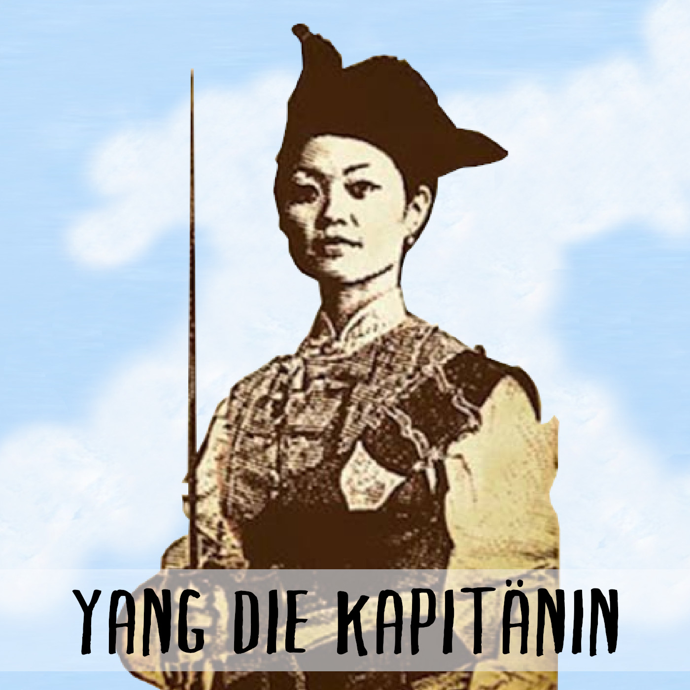 Podcast Cover: The Pirate Queen Ching Shih. Podcast Logo: Die Piratenkönigin Zheng Yisao.