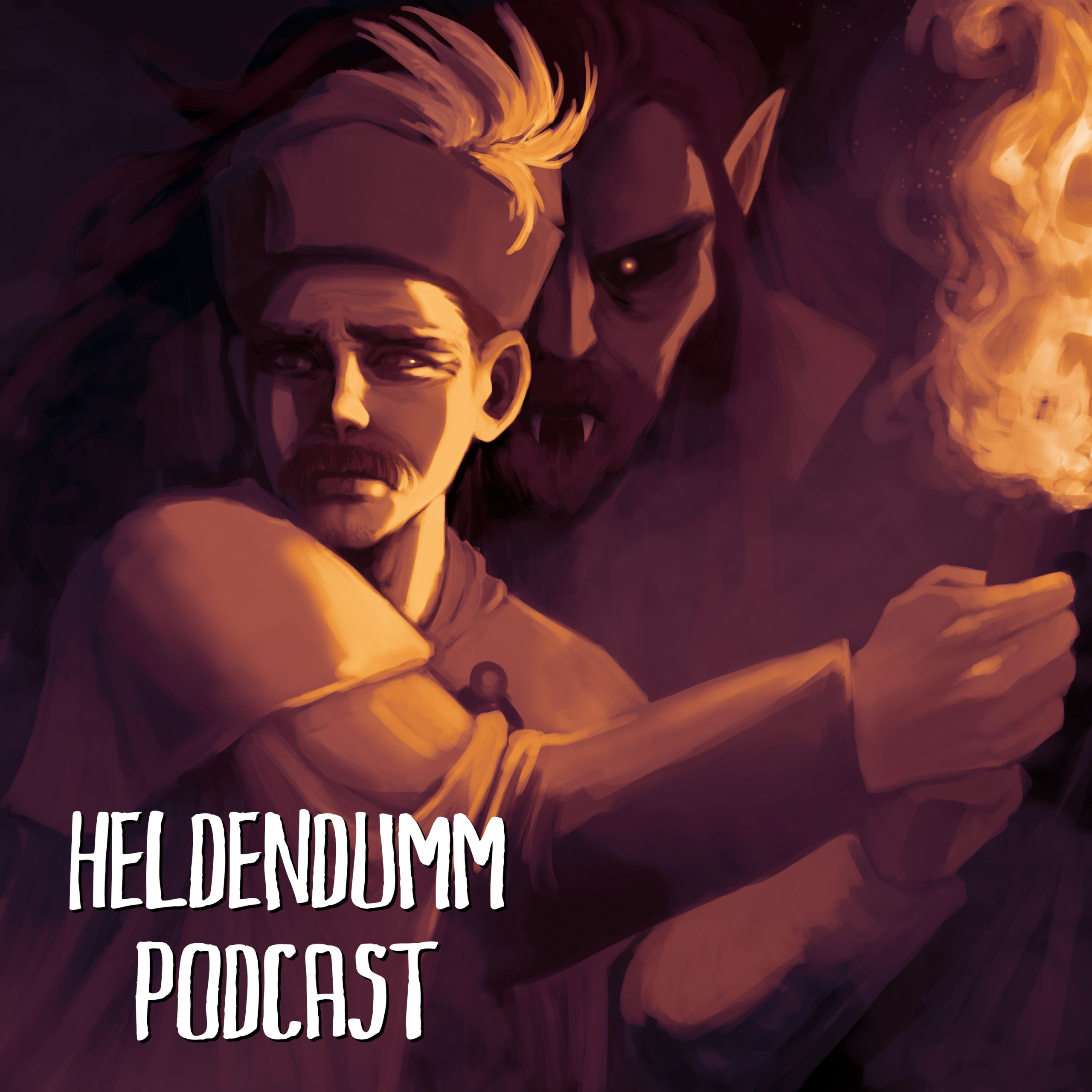 Podcast Cover: Illustration of the Hajduk Arnold Paole being stalked by a vampire. Podcast Logo: Illustration des Heiducks Arnold Paole während er von einem Vampir verfolgt wird.