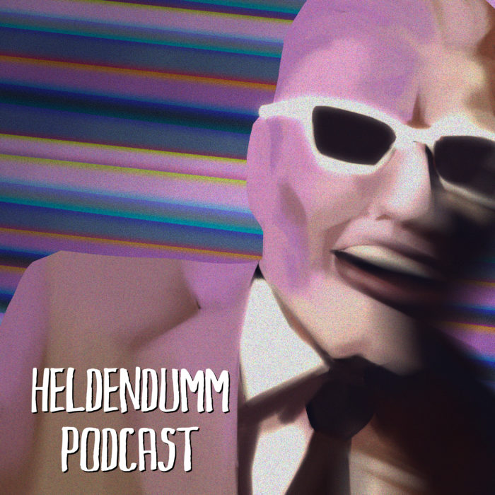 Podcast Cover: Illustration of Max Headroom during the Chicago TV Hijack Incident. Podcast Logo: Illustration von Max Headroom während des Kapern von einem TV-Sender in Chicago.